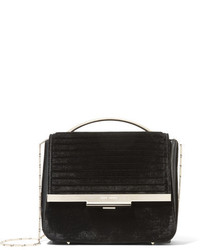 Eddie Borgo Colt Tech Leather Trimmed Velvet Shoulder Bag Black