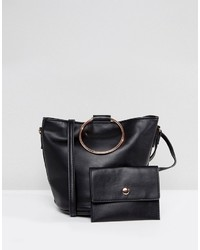 Asos Cross Body Bag With Ring Handle Detail