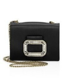 Roger Vivier Evening Micro Crystal Buckle Satin Chain Shoulder Bag