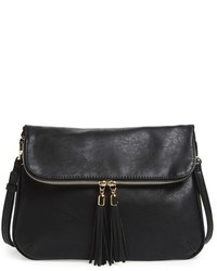 Foldover Crossbody Bag Black