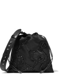 Prada Leather Trimmed Embellished Shell Shoulder Bag Black