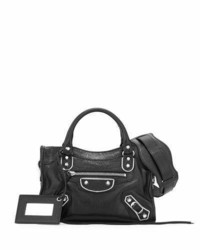 Balenciaga Metallic Edge Classic Mini City Crossbody Bag Black