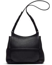 The Row Sideby Pebbled Calfskin Crossbody Bag Black