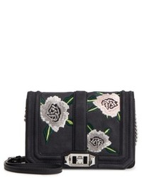 Rebecca Minkoff Small Love Embroidered Nubuck Crossbody Bag Black