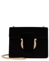 Salvatore Ferragamo Small Thalia Velvet Crossbody Bag Black