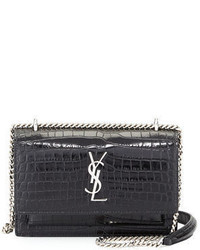 Saint Laurent Sunset Monogram Small Crocodile Embossed Wallet On A Chain