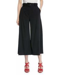 Oscar de la Renta Belted Stretch Wool Culotte Pants
