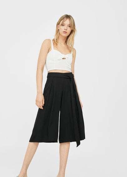 Mango Bow Culottes Trousers