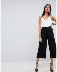 ASOS DESIGN Cropped Black Wide Leg Trouser In Jersey Crepe