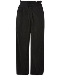 Topshop Ruffle Waist Cropped Plisse Trousers