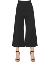 Self-Portrait Wide Leg Double Crepe Cropped Pants