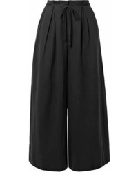 Ulla Johnson Sylvie Pleated Tencel Linen And Cotton Blend Twill Culottes Black