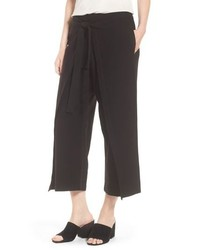 Eileen Fisher Washable Stretch Crepe Tie Front Crop Wide Leg Pants