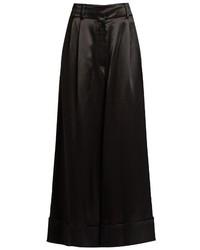 Loewe Wide Leg Cropped Satin Trousers