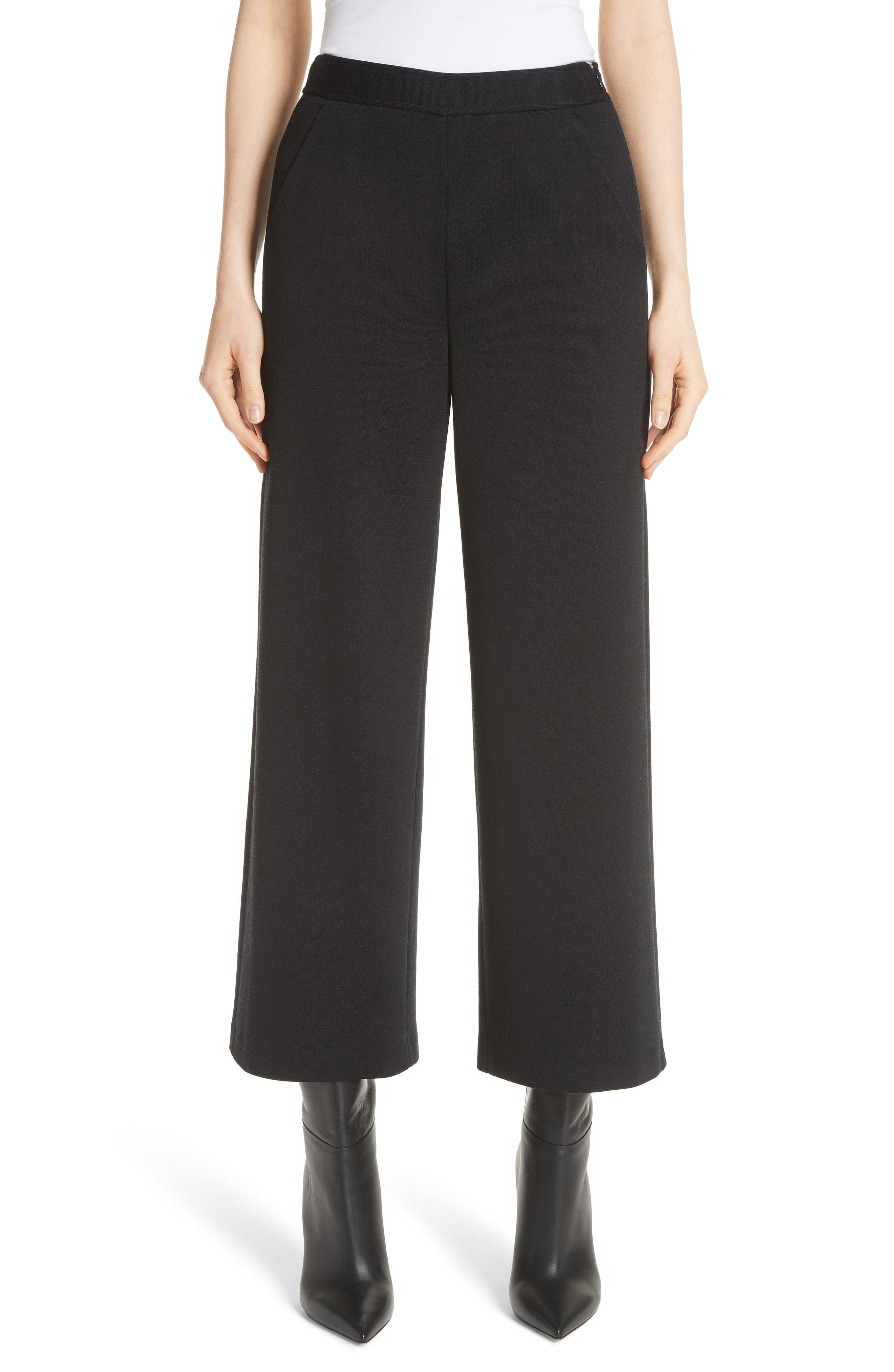 St. John Collection Wide Leg Milano Knit Crop Pants