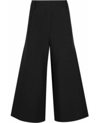 Valentino Wool And Silk Blend Crepe Culottes Black