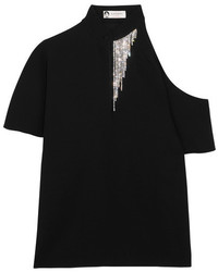 Lanvin Crystal Embellished Cutout Crepe Top Black