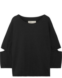 Current/Elliott The Easy Cutout French Cotton Terry Top Black