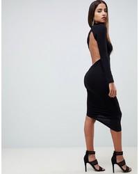 ASOS DESIGN Long Sleeve Extreme Open Back Midi Bodycon Dress