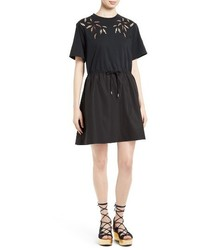 See by Chloe Embroidered Cutout T Shirt Dress