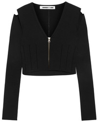 MCQ Alexander Ueen Cropped Cutout Stretch Knit Top Black
