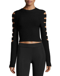 Anastasia ribbed cutout long sleeve crop top black medium 3679964