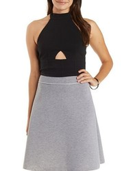 Charlotte Russe Cropped Cut Out Halter Top