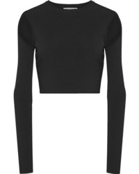 Opening Ceremony Cropped Cutout Stretch Knit Top Black
