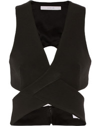 Dion Lee Cropped Cutout Stretch Ponte Top Black