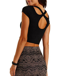 Charlotte Russe Crossover Cut Out Cotton Crop Top