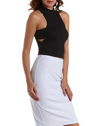 Charlotte Russe Cut Out Mock Neck Crop Top