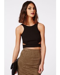 Missguided Leona Cut Out Crop Top Black