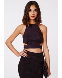 Missguided Magdelan Faux Suede Cut Out Top Black