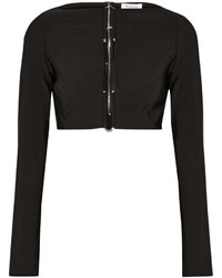 Thierry Mugler Mugler Cropped Embellished Cutout Stretch Cady Top Black