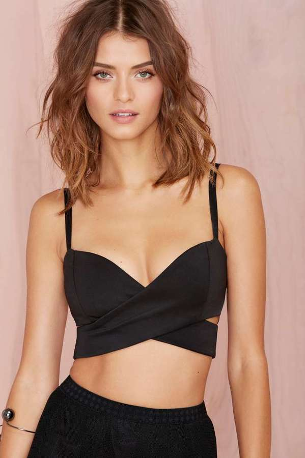 Nasty Gal Under Wraps Scuba Crop Top Black