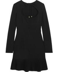Rebecca Vallance Beltrn Pleated Cutout Crepe Mini Dress Black