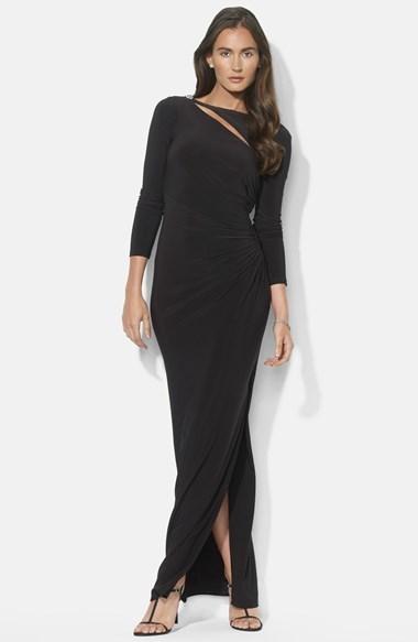 ... Lauren Ralph Lauren Cutout Matte Jersey Gown ...