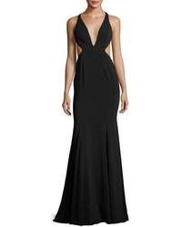 Deep v neck mermaid gown w side cutouts black medium 3729713