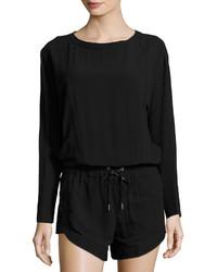 Helmut Lang Cutout Long Sleeve Jumpsuit Black