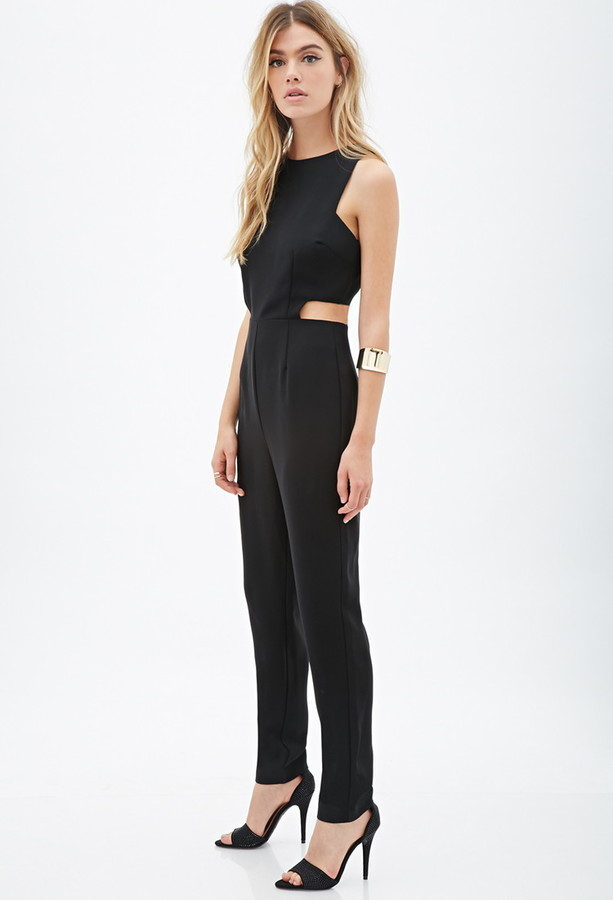 ab67092df63 ... Black Cutout Jumpsuits Forever 21 Cutout Sleeveless Jumpsuit ...
