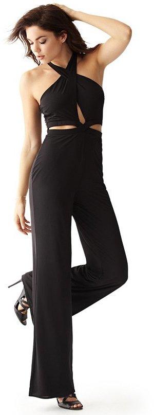 d7d7e4cc1329 ... Black Cutout Jumpsuits GUESS Sleeveless Cutout Wide Leg Jumpsuit ...