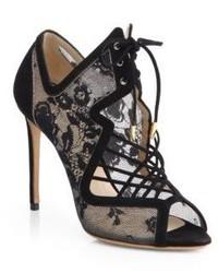 Black Cutout Lace Ankle Boots