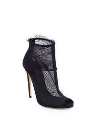 Dolce & Gabbana Lace Peep Toe Ankle Boots Black