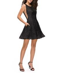 La Femme Lace Fit Flare Party Dress