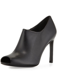 Stuart Weitzman Altamira Leather Peep Toe Bootie Black