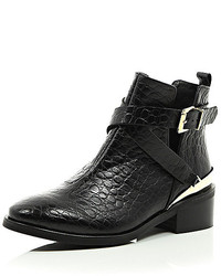 River Island Black Leather Low Heeled Cut Out Ankle Boots