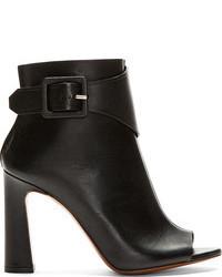 Proenza Schouler Black Open Toe Buckle Ankle Boots