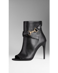 Burberry Buckle Detail Leather Peep Toe Ankle Boots