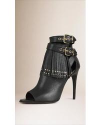 Burberry Tasselled Peep Toe Leather Ankle Boots
