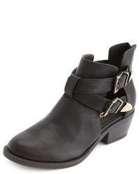 Charlotte Russe Cutout Double Buckle Ankle Bootie